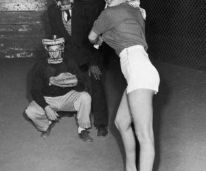 Marilyn Monroe, baseball, and black and white image