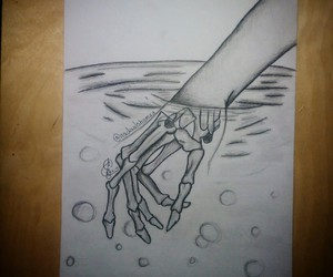 black and white, drawing, and hand image