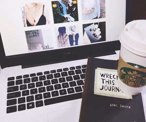starbucks, laptop, and wreck this journal image