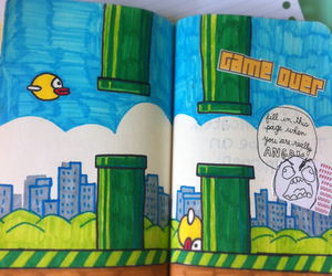 flappy bird, wreck this journal, and art image