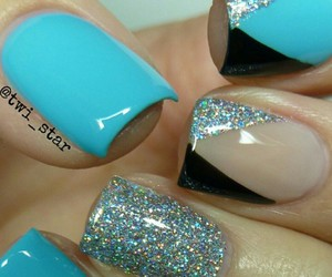 blue, glitter, and nails image