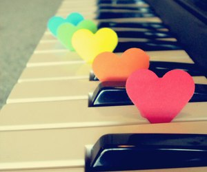 black and white, hearts, and music image