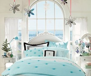 bed, blue, and decor image
