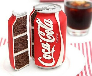 cake, coca cola, and food image
