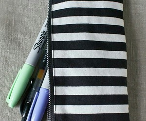 black and white, pencil case, and girly image