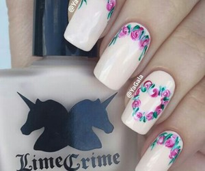 flower, nails, and rose image