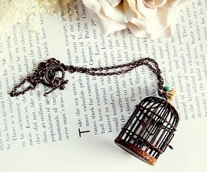 book, necklace, and bird cage image
