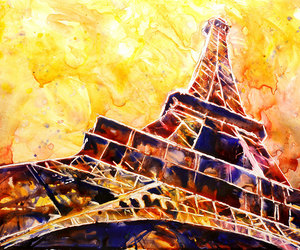 eiffel tower, paris france, and watercolor painting image