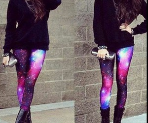 black, galaxy, and leggings image