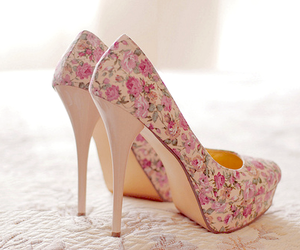 floral, pastel, and heels image