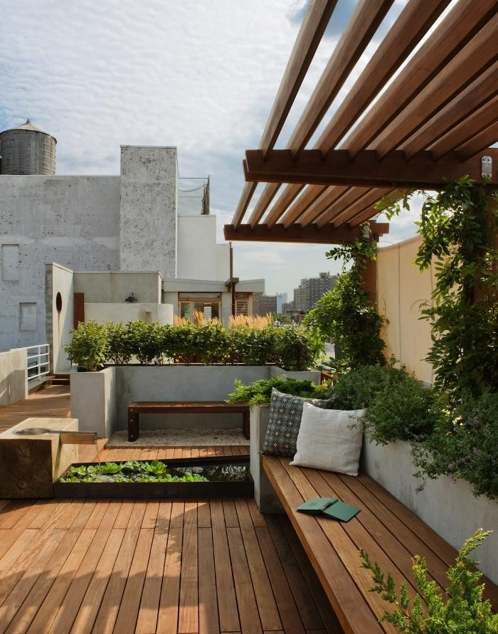 Creative Rooftop Garden For Your Home Design For Small Rooftop Gardens Rooftop Gardens Research Roof Garden Plants Roof Garden Design Wonderful Rooftop Garden With Granite Stair Feat Stone Tile Walkway Access And
