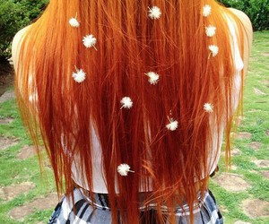 flowers, hair, and redhead image