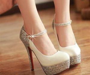 glitter, silver, and shoes image