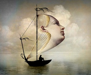 boat, art, and face image