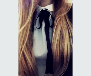black bow, brunette, and shirt image