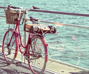 bike, bicycle, and sea image