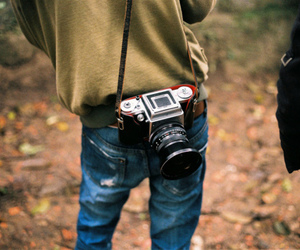 boy, camera, and forest image