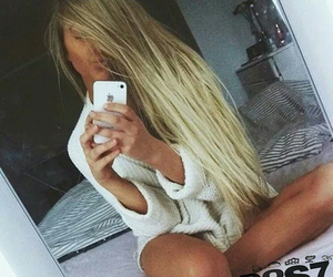 blonde, hair, and iphone image