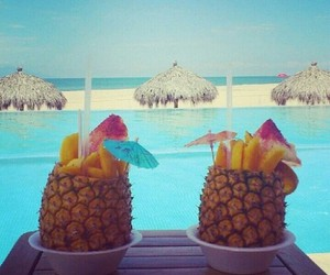 pineapple, summer, and swimming pool image