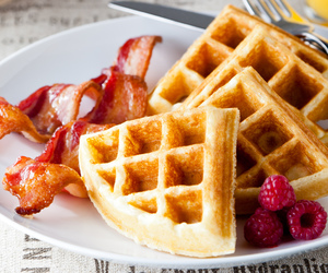 waffles, food, and bacon image