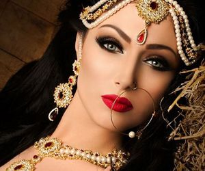 bride, gold, and makeup image