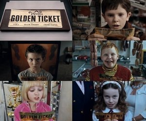 golden ticket, chocolate, and Willy Wonka image