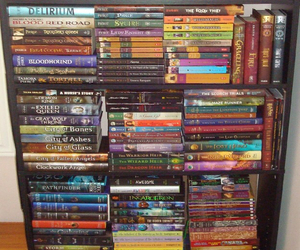 books, reading, and shelfie image