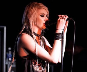 blonde, girl, and rock image