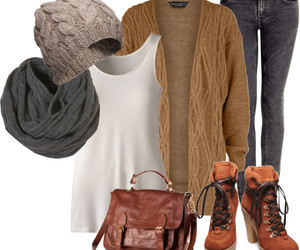 boots, Polyvore, and cardigan image