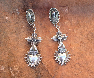 earrings, jewelry, and sacred heart image