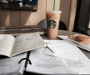 book, starbucks, and school image