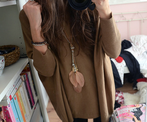 brown, fashion, and sweater image