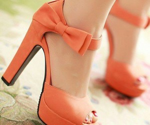 shoes, orange, and heels image