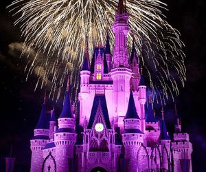 disney, fireworks, and castle image