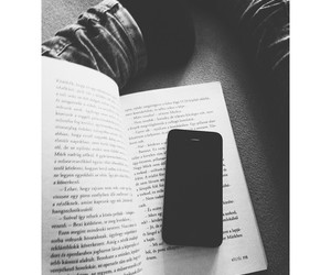 apple, black and white, and book image