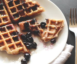 food, waffles, and blueberry image