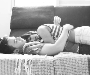 black and white, cuddle, and photography image