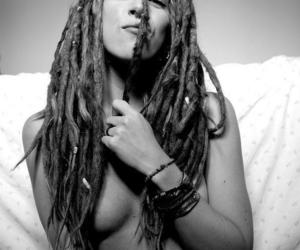 black and white, dreads, and girl image