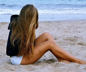 alone, beach, and brown hair image