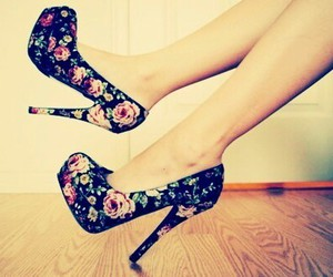 flower, heels, and pretty image