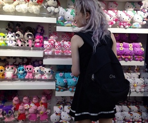aesthetic, gothic, and hello kitty image