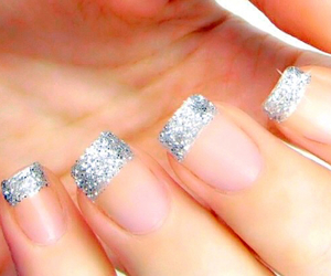 french manicure, nails, and glitter tip image