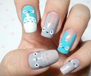 nails, totoro, and nail art image