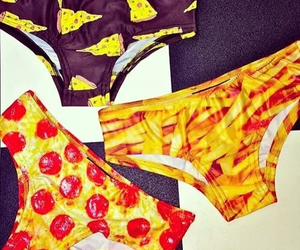 fries, pizza, and panties image