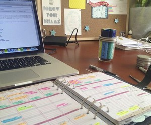 study, desk, and laptop image