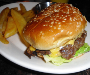 cheeseburger, food, and French Fries image