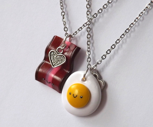 kawaii, bacon and eggs, and best friends necklaces image