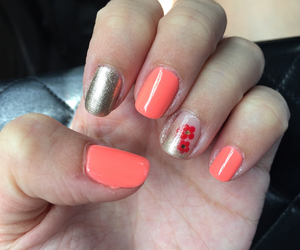 chinese new year, coral, and nails image