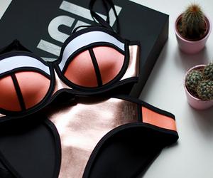 bikini, plants, and triangl image