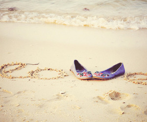 love, shoes, and beach image